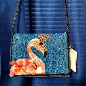 Mary Frances Queen Flamingo beaded purse
